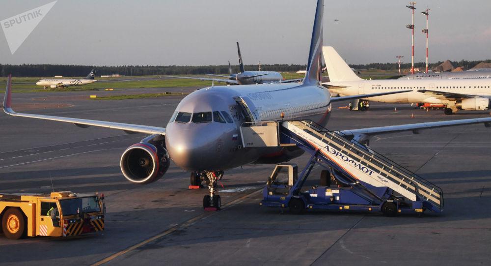 Самолет Boeing 737-800 С. Ожегов авиакомпании Аэрофлот в аэропорту Шереметьево в Москве.