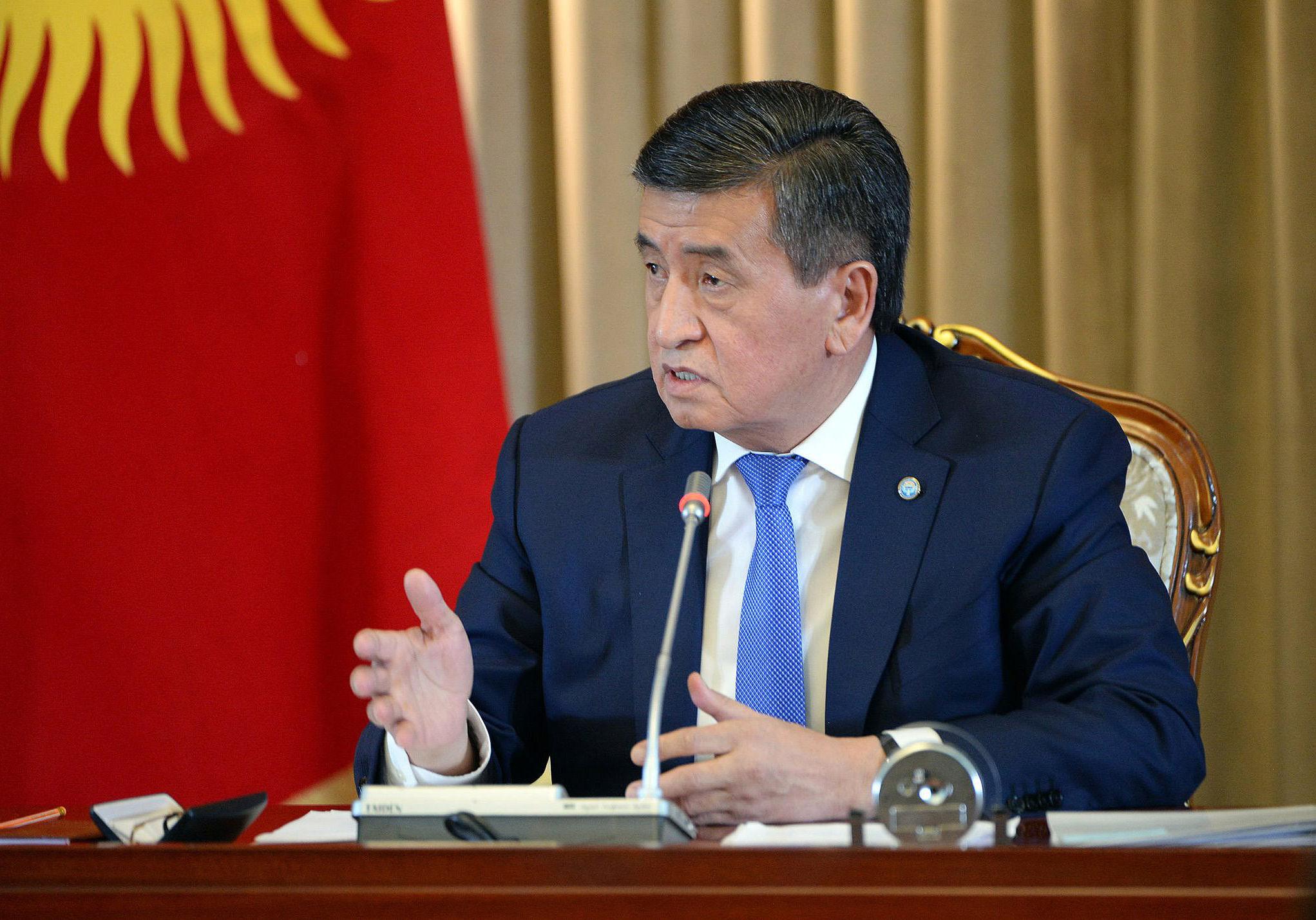 Президент Кыргызской Республики Сооронбай Жээнбеков во время первой пресс-конференции президента Сооронбая Жээнбекова по итогам 2018 года. 19 декабря, 2018 г