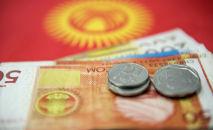Акча жана Кыргызстандын желеги. Архивдик сүрөт