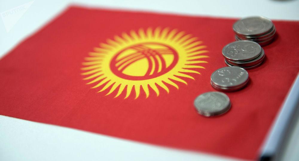 Монеты на фоне флага Кыргызстана. Архивное фото