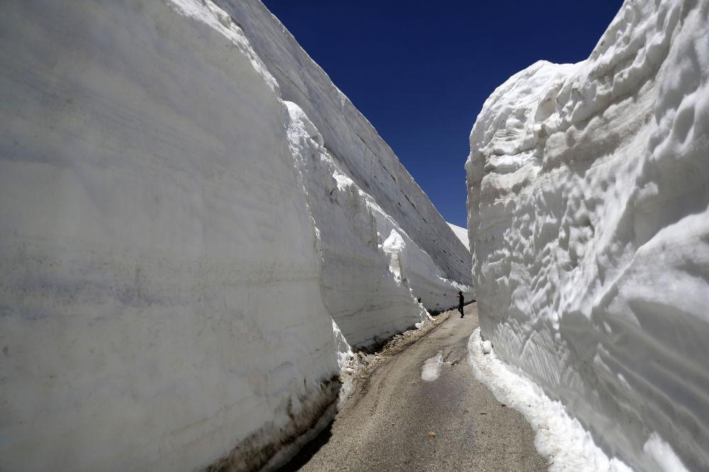 Люди фотографируют десятиметровые стены снега в Ливане