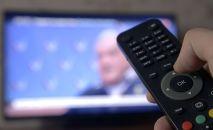 Человек держит пульт дистанционного управления перед телевизором. Архивное фото