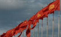 Кыргызстан жана Кытайдын желектери. Архивное фото