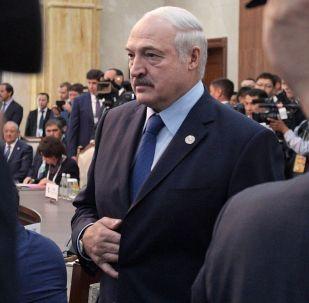 Президент Белоруссии Александр Лукашенко перед началом заседания Совета глав государств - членов Шанхайской организации сотрудничества (ШОС) в расширенном составе в государственной резиденции Ала-Арча в Бишкеке.