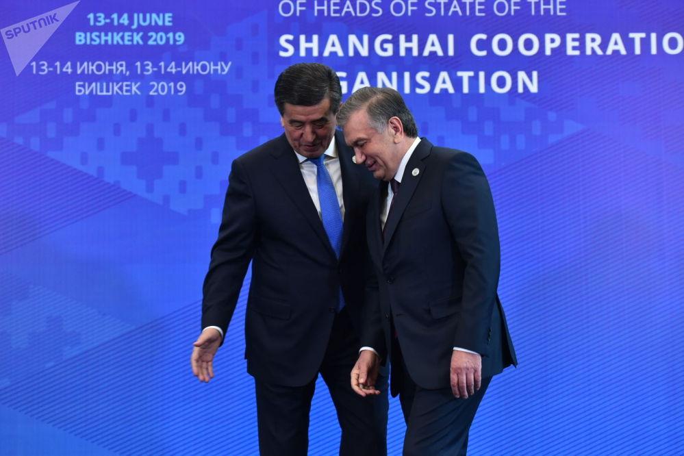 Жээнбеков и президент Узбекистана Шавкат Мирзиёев