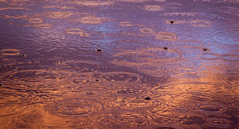Лужа во время дождя. Архивное фото