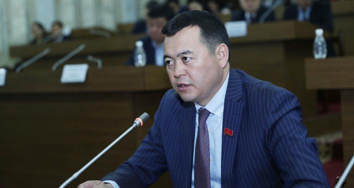 Вице-спикер Жогорку Кенеша Мирлан Бакиров во время заседания Жогорку Кенеша