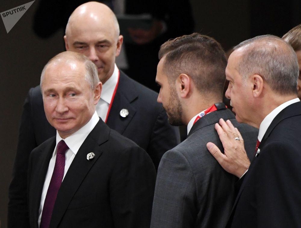 Президент России Владимир Путин и глава Турции Реджеп Тайип Эрдоган на полях саммита Большой двадцатки