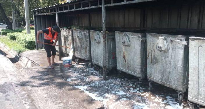 Сотрудники муниципального предприятия Тазалык проводят дезинфекцию и мойку мусорных контейнеров в Бишкеке