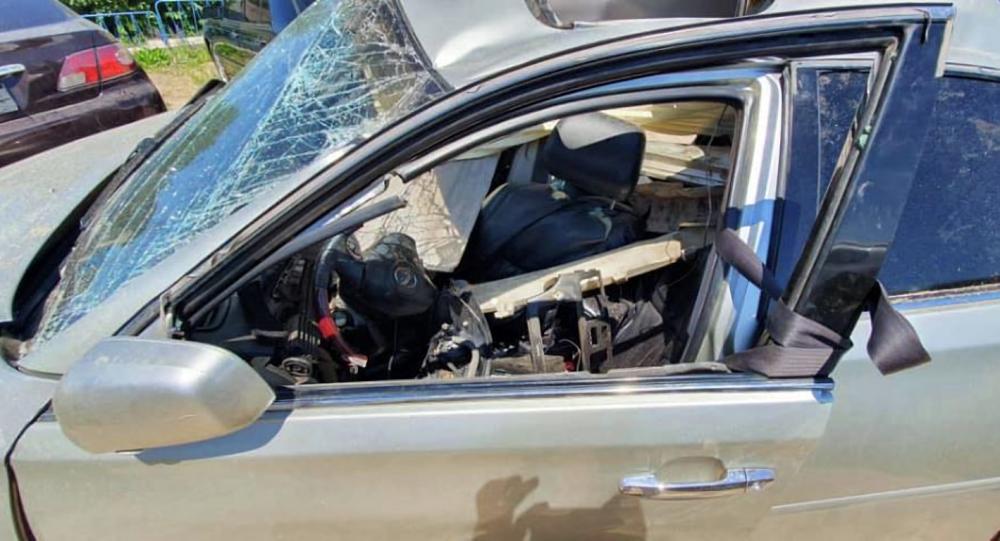 Чолпон-Ата шаарындагы жол кырсыгына кабылган унаа. Архивдик сүрөт