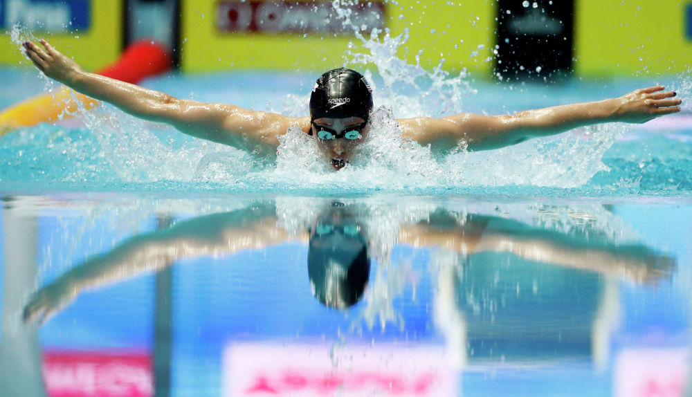 Американка Хали Фликкингер участвует в заплыве на дистанцию 200 метров на XVIII Чемпионате мира по водным видам спорта