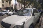 Бишкектин Эркиндик проспектиси менен Москва көчөлөрүнүн кесилишинде токтоп турган Toyota Harrier үлгүсүндөгү автоунаанын үстүнө бактын бутагы түштү.
