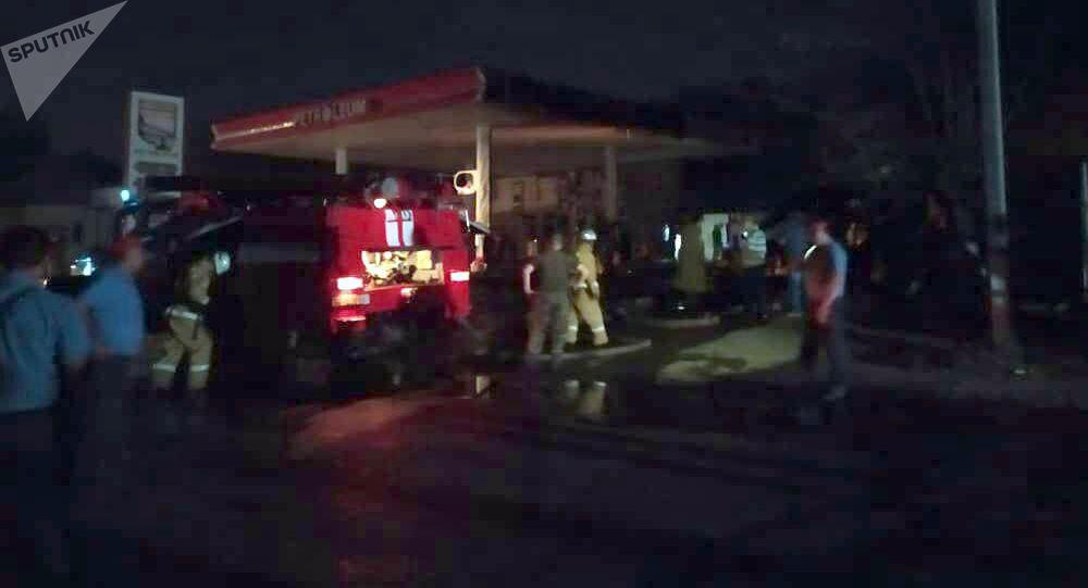 Пожар в автозаправке в мкр Ак-Тилек в Оше