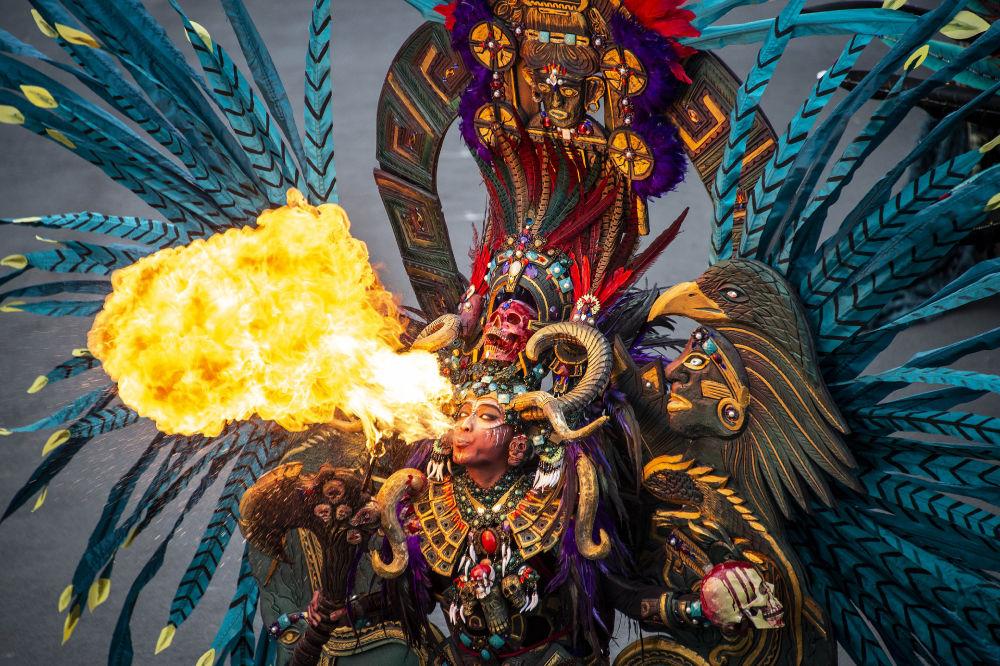 Участница карнавала моды в Индонезийском городе Джембер