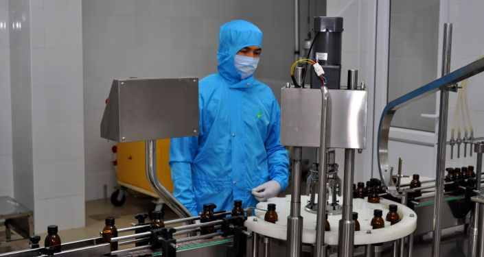 Сотрудник Фармацевтической компании кыргызстанца Рахима Бабаева во время работы
