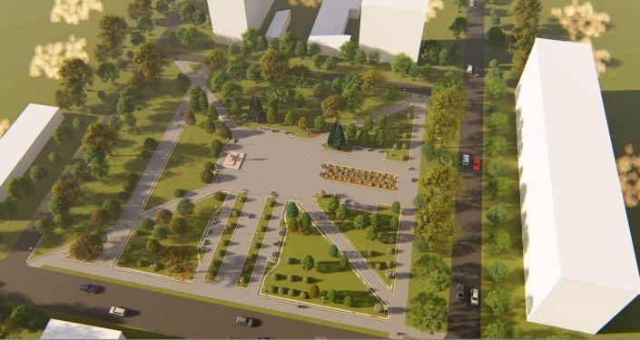 Мэрия Бишкека разработала эскиз реконструкции сквера имени Максима Горького, который находится на пересечении улиц Исанова и Рыскулова.
