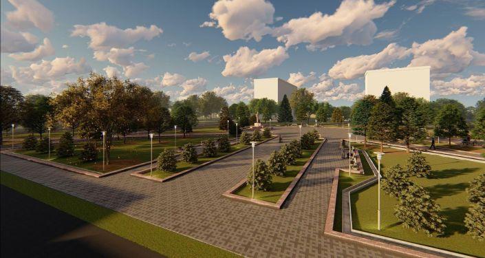 Мэрия Бишкека разработала эскиз реконструкции сквера имени Максима Горького, которая находится на пересечении улиц Исанова и Рыскулова.