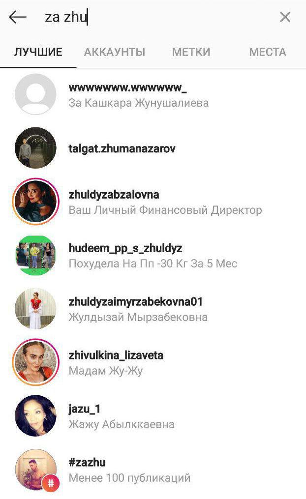 Скриншот поиска za zhu в Instagram
