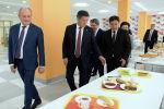 Президент Кыргызской Республики Сооронбай Жээнбеков на открытии общеобразовательной школы Школа Газпром Кыргызстан в городе Бишкек. 2 сентября, 2019 года
