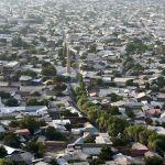 Вид на Ош. В центре можно увидеть мечеть.