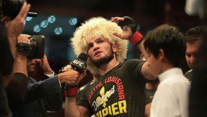 UFC уюмунун жеңил салмактагы чемпиону, россиялык мушкер Хабиб Нурмагомедов. Архив