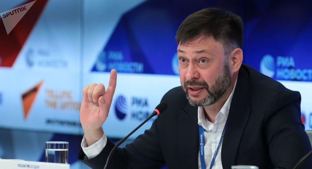 Руководитель портала РИА Новости Украина Кирилл Вышинский на пресс-конференции в Международном мультимедийном пресс-центре МИА Россия сегодня.