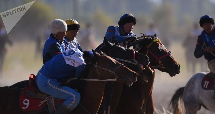 Участники кок бору из Таласа и Оша во время Национальных игр кочевников в Таласе
