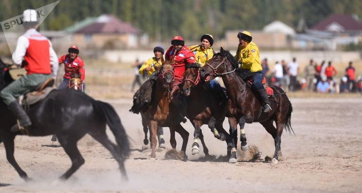 Чуйская и Ошская команды во время финального турнира по кок-бору, который проходит в Таласской области в рамках Национальных игр кочевников