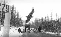 Укладка железнодорожного полотна Строительство Байкало-Амурской магистрали