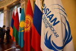 Флаги стран ЕАЭС в зале заседаний Энесай в Госрезиденции Ала-Арча перед началом международно-выставочного форума Евразийская неделя — 2019 в Бишкеке