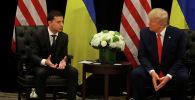 Президент США Дональд Трамп во время двусторонней встречи с президентом Украины Владимиром Зеленским в кулуарах 74-й сессии Генеральной Ассамблеи ООН (ГА ООН) в Нью-Йорке. США, 25 сентября 2019 года.
