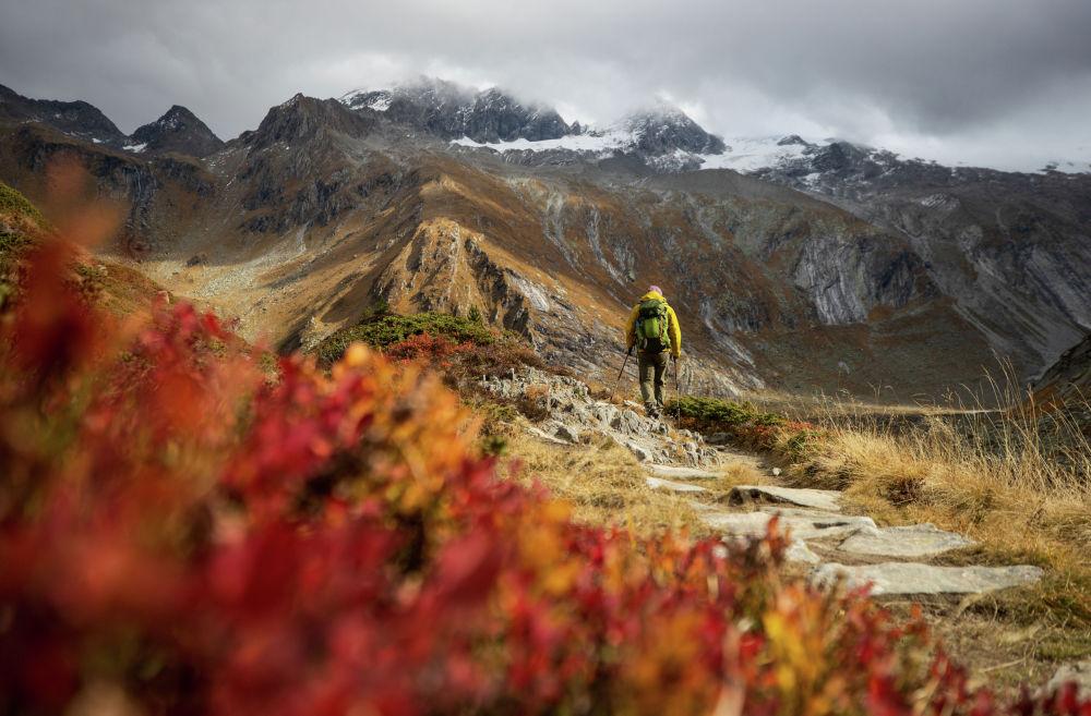 Австриянын Циллерталь Альпы тоолорунда бара жаткан турист