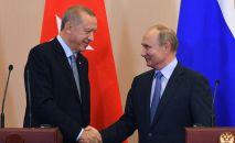 22 октября 2019. Президент РФ Владимир Путин и президент Турции Реджеп Тайип Эрдоган на пресс-конференции по итогам встречи.