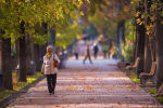 Бишкектеги Эркиндик бульварында аял бара жатат. Архив