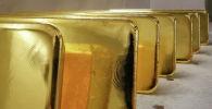 Недавно отлитые слитки из чистого золота 99,99% хранятся после взвешивания на заводе цветных металлов Красцветмет, одном из крупнейших в мире производителей драгоценных металлов, в сибирском городе Красноярск. Россия, 22 ноября 2018 года