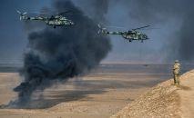 Вертолёты Ми-8 АМТШ Терминатор во время совместных антитеррористических учений коллективных сил быстрого реагирования (КСБР) государств-членов Организации договора о коллективной безопасности (ОДКБ) на полигоне Харбмайдон в Таджикистане.