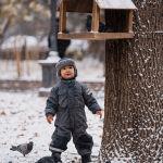 Мальчик играется с голубями на бульваре Эркиндик во время снегопада в Бишкеке