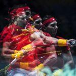 Рафаэль Надаль (Испания) в одиночной встрече финального турнира Кубка Дэвиса между сборными Хорватии и Испании против Борны Гойо (Хорватия)