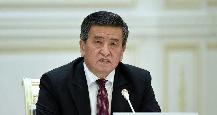 Президент Кыргызской Республики Сооронбай Жээнбеков на второй Консультативной встрече глав государств Центральной Азии в городе Ташкент (Узбекистан). 29 ноября 2019 года