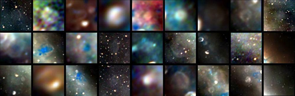 Радиоизображения 27 объектов — остатков звезд, взорвавшихся от тысячи до сотен тысяч лет назад