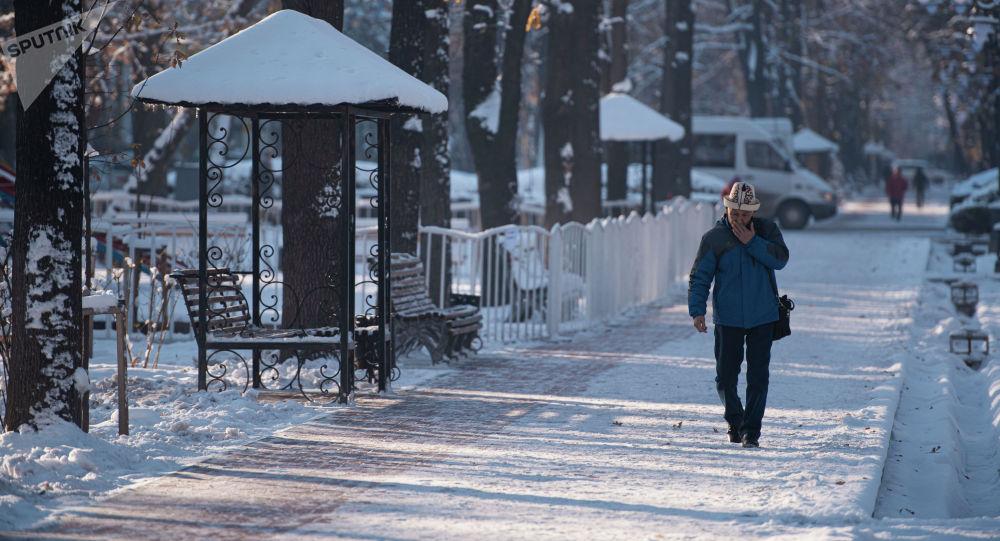Мужчина идет в морозное утро по проспекту Эркиндик в Бишкеке. Архивное фото
