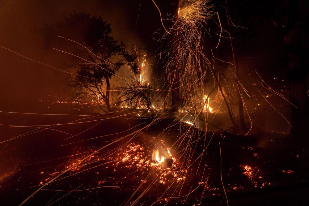 Пожар на холме Санта-Барбара в Калифорнии (США)