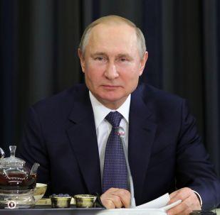 Президент РФ Владимир Путин во время встречи с представителями деловых кругов Германии.