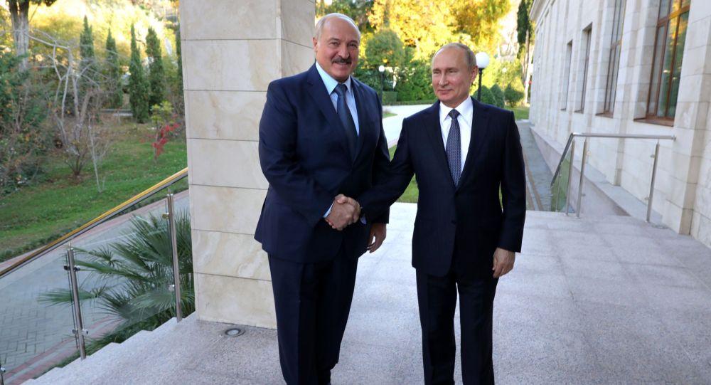 Президент РФ Владимир Путин во время встречи с президентом Белоруссии Александром Лукашенко (слева) в Сочи.