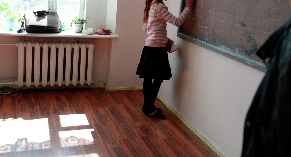 Ученица отвечает у доски на уроке в школе. Архивное фото