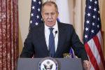 Министр иностранных дел РФ Сергей Лавров на пресс-конференции по итогам встречи в Вашингтоне с госсекретарем США Майком Помпео.