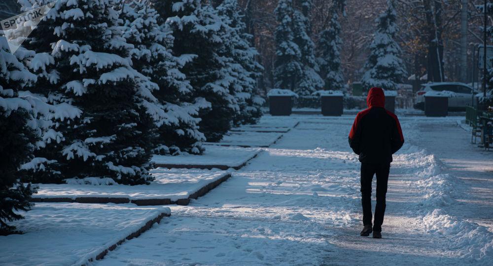 Мужчина идет по бульвару Эркиндик в Бишкеке. Архивное фото
