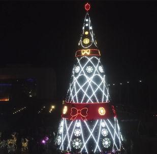 Команда Sputnik запечатлела торжественный момент с церемонии зажжения главной елки Кыргызстана на центральной площади столицы.