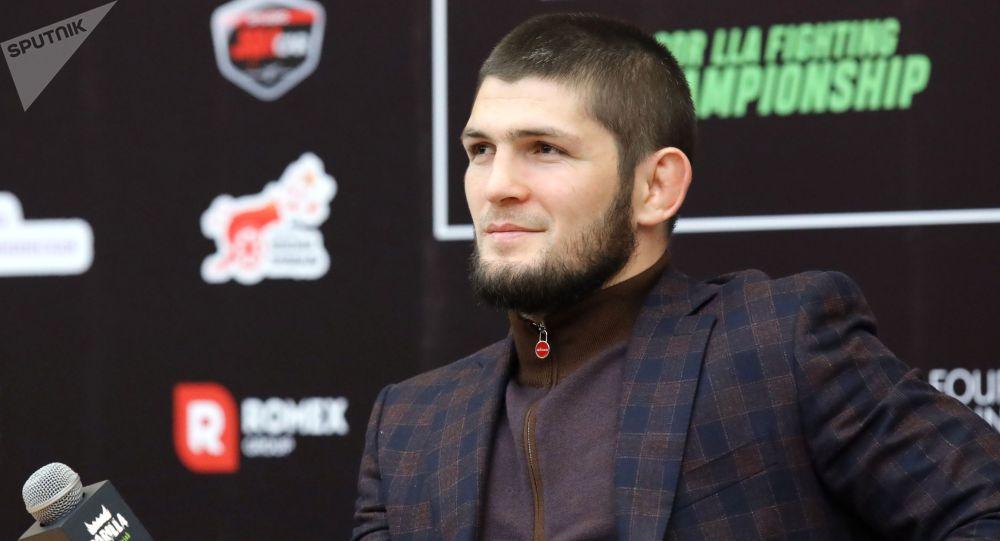 UFC уюмунун жеңил салмактагы чемпиону Хабиб Нурмагомедов. Архивдик сүрөт