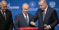 Президент РФ Владимир Путин и президент Турции Реджеп Тайип Эрдоган (справа) на церемонии официального открытия газопровода Турецкий поток в Стамбуле. Слева - премьер-министр Болгарии Бойко Борисов.